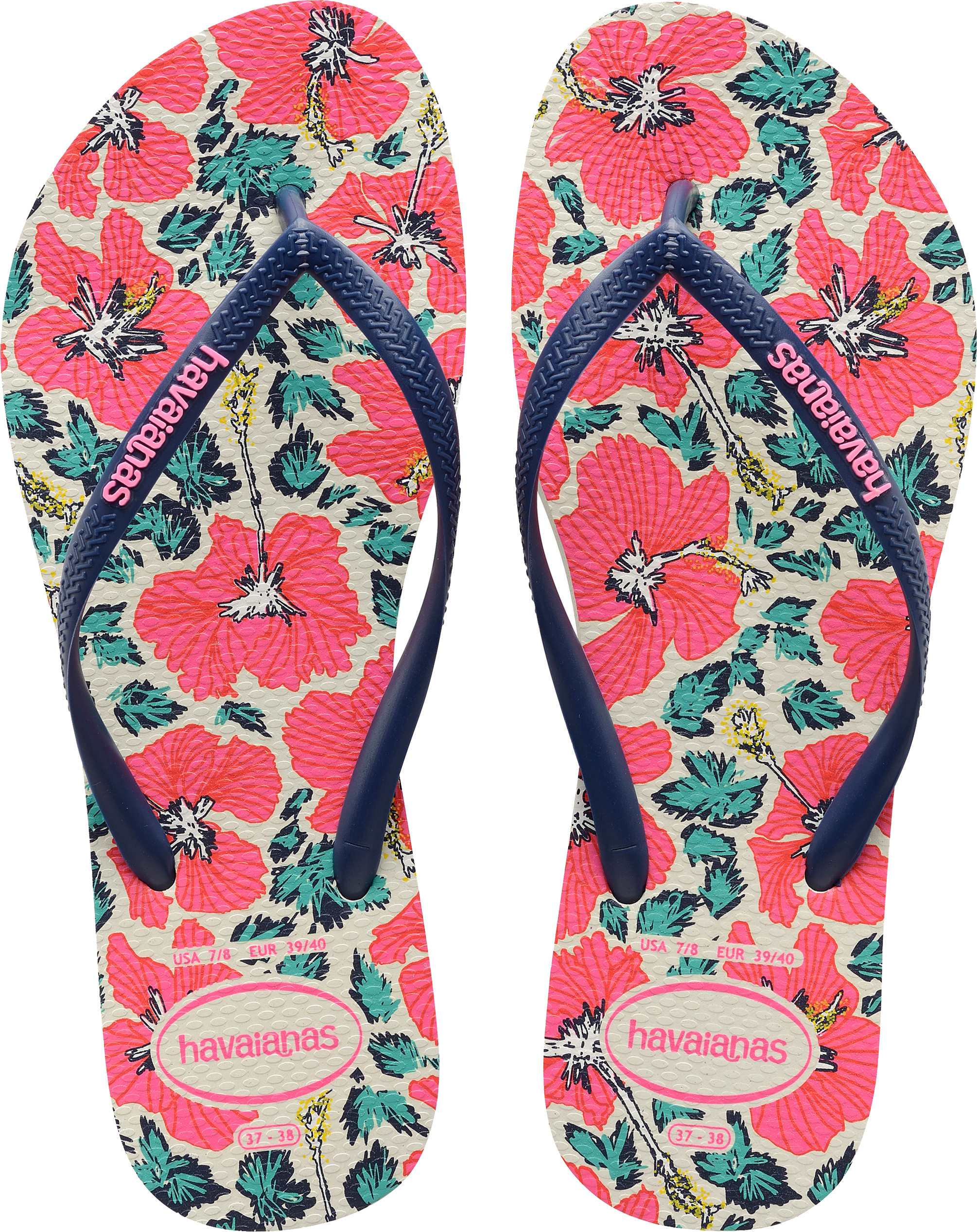 5740f3ac7 Havaianas Slim Floral Women s Flip Flops. Uk8 White navy Blue. About this  product. Picture 1 of 5  Picture 2 of 5 ...
