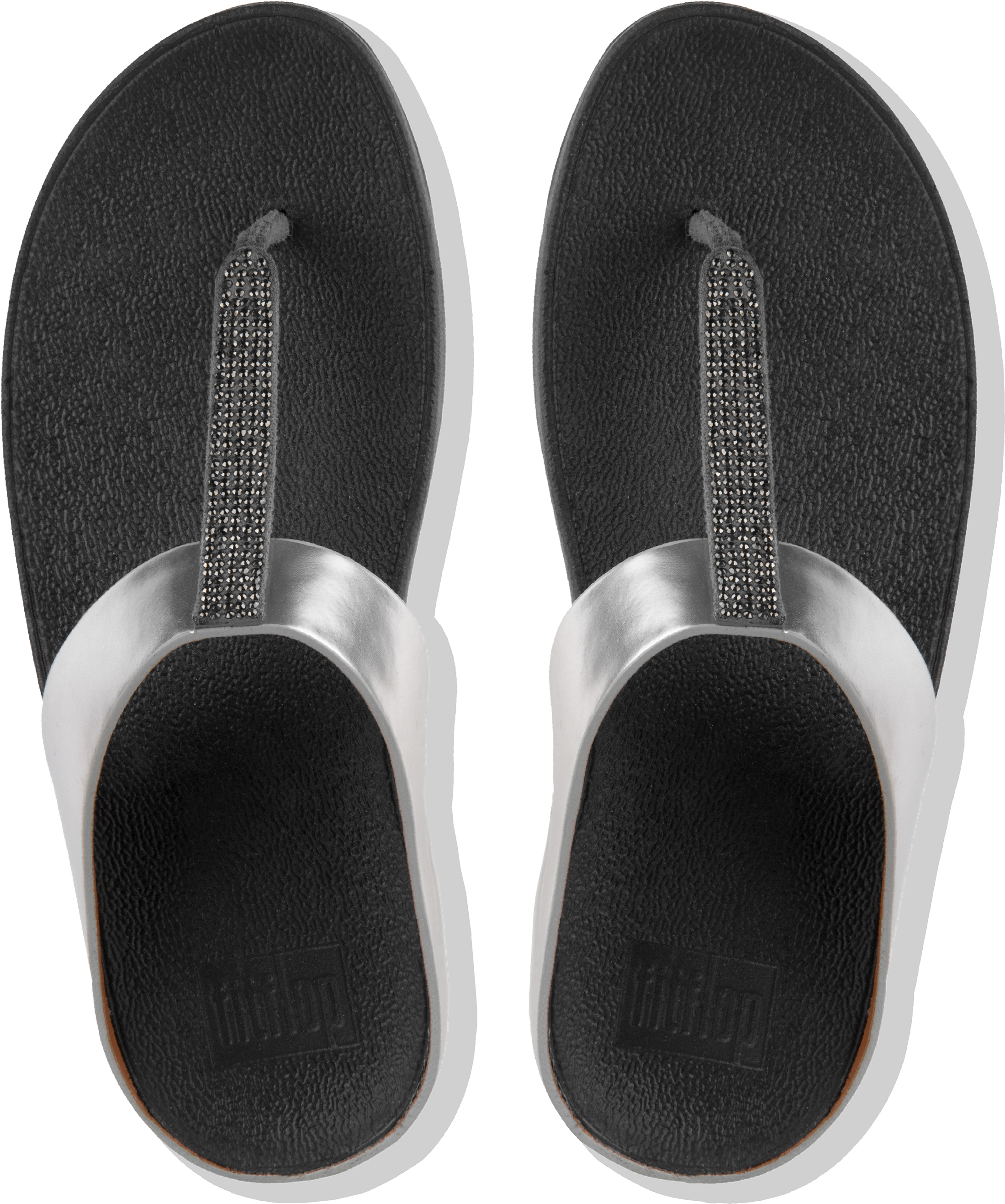 65f4758522620b FitFlop FINO Crystal Toe Post Sandals Women s Metallic Pewter Thong ...
