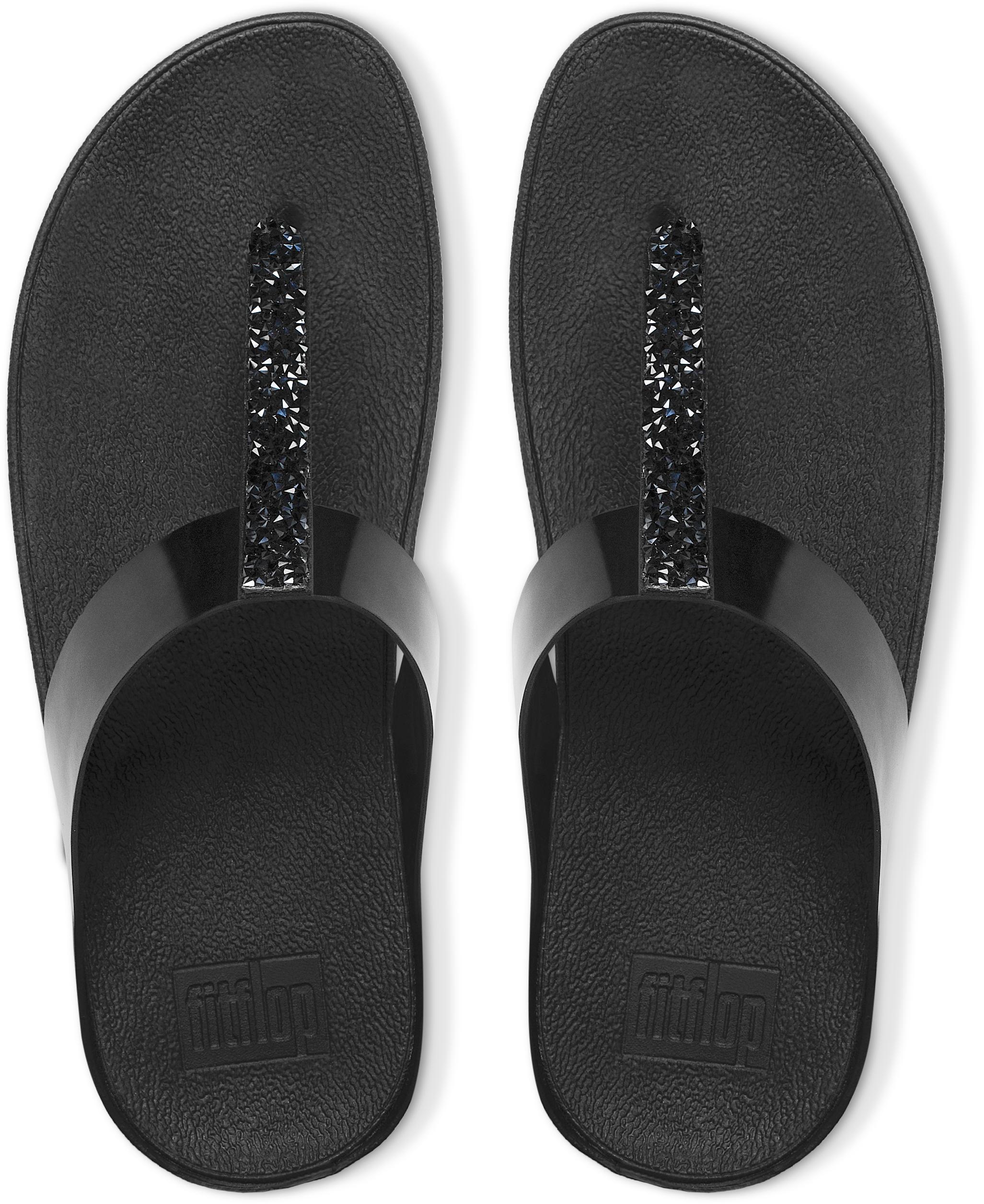 710fff87ef0f76 FitFlop Women s FINO Toe-post Flip Flops Crystal Embellished Strap ...
