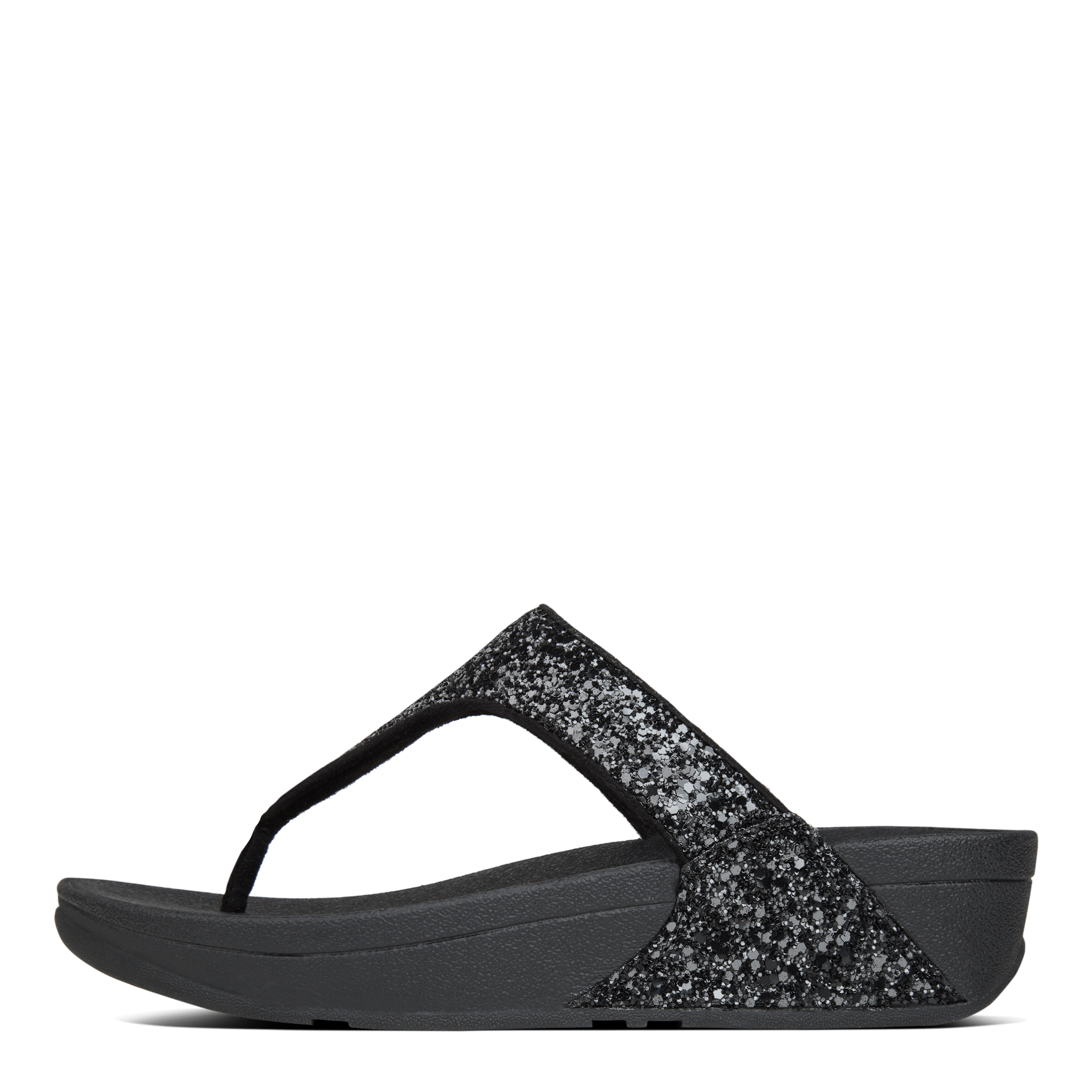 fb8379e2168 Womens FitFlop Glitterball Toe-post Sandals Black UK 4