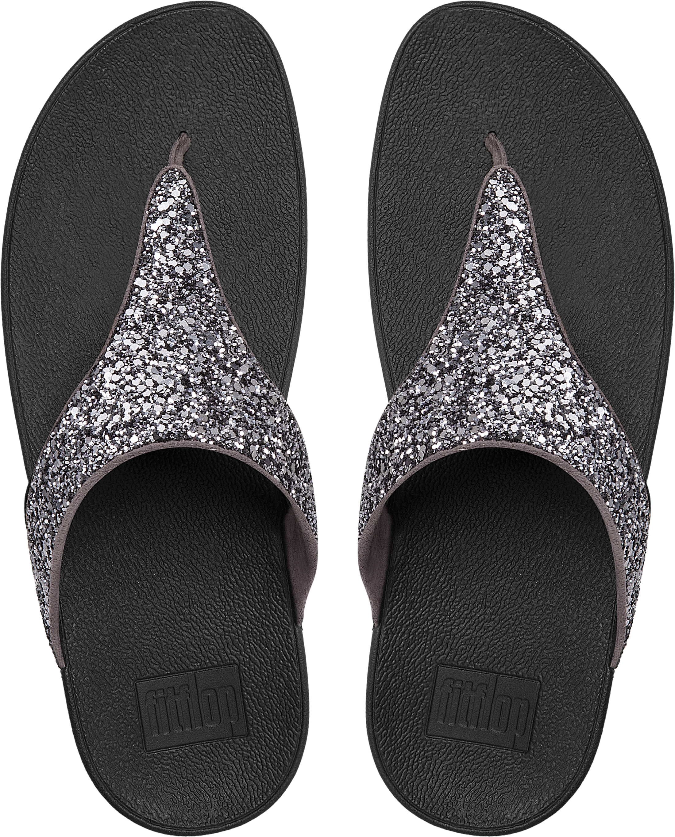 87c24d140c4 FitFlop Womens Glitterball Toe-post Sandals - Pewter Uk4 Black for ...