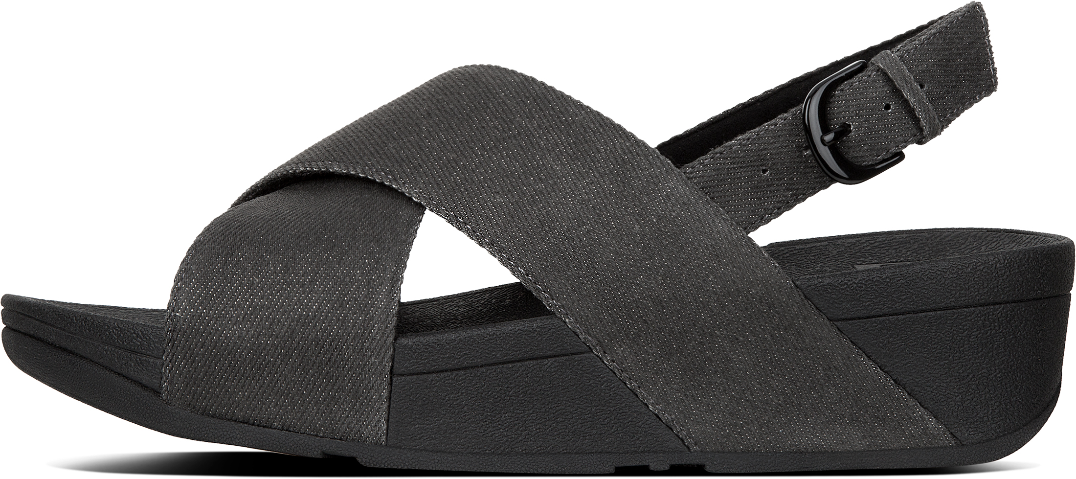 ac5e18f04e59 FitFlop Women s Lulu Cross Back-strap Sandals Shimmer Open Toe Black ...