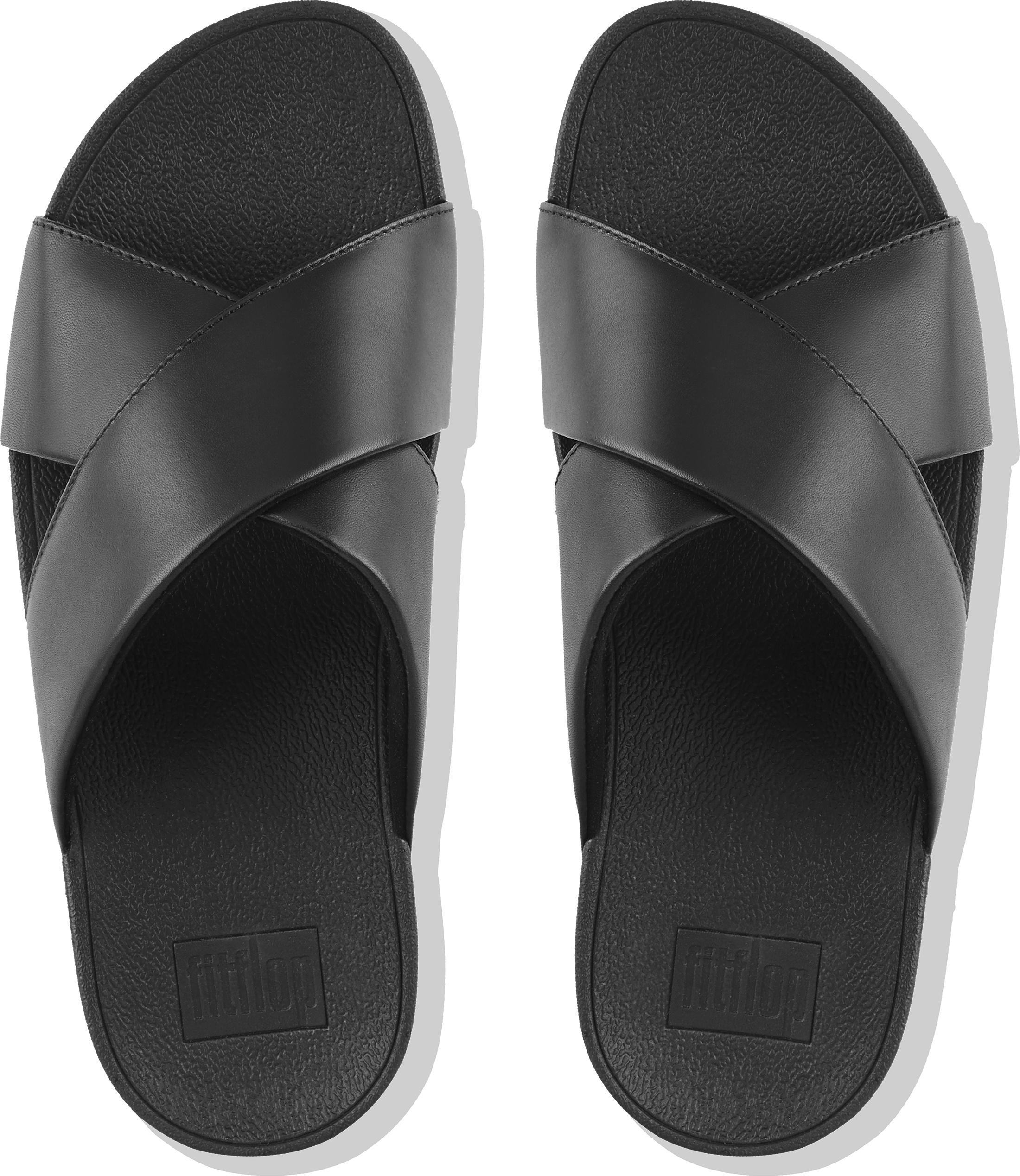 5fc324e47fe3b FitFlop Women s Lulu Leather Cross Slide Sandals Uk8 for sale online ...
