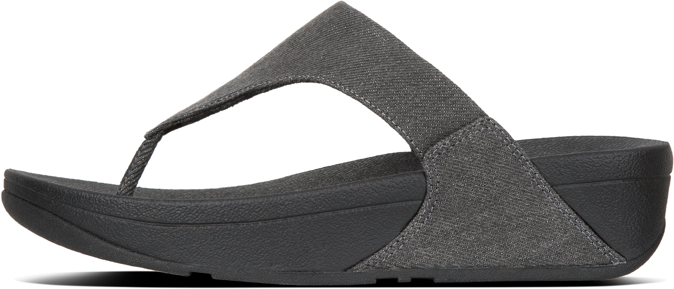 1765704209bb FitFlop Lulu Toe Thong Post Black Shimmer Denim Ladies Sandals Boxed ...