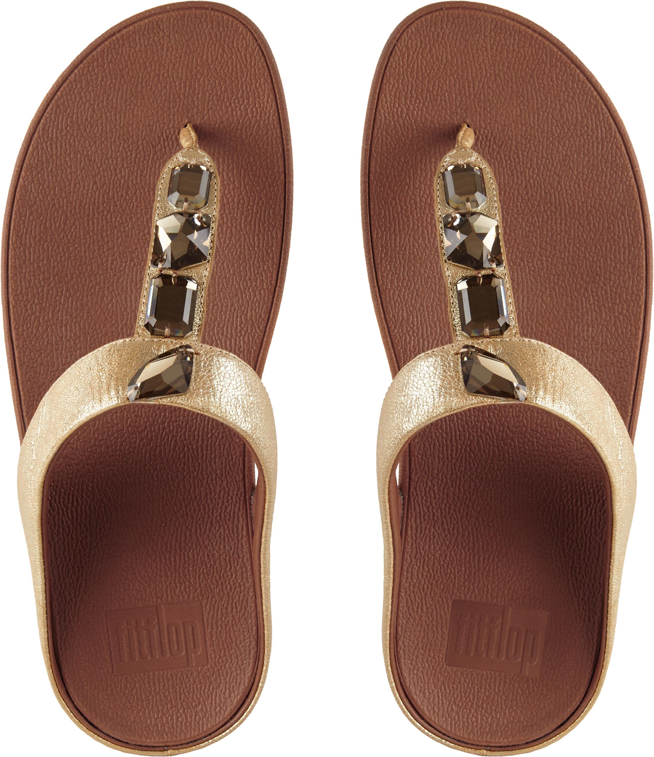 e95517e575b2d FitFlop Women s Roka Toe-thong Sandals JEWEL Embellished Uk6 Gold ...