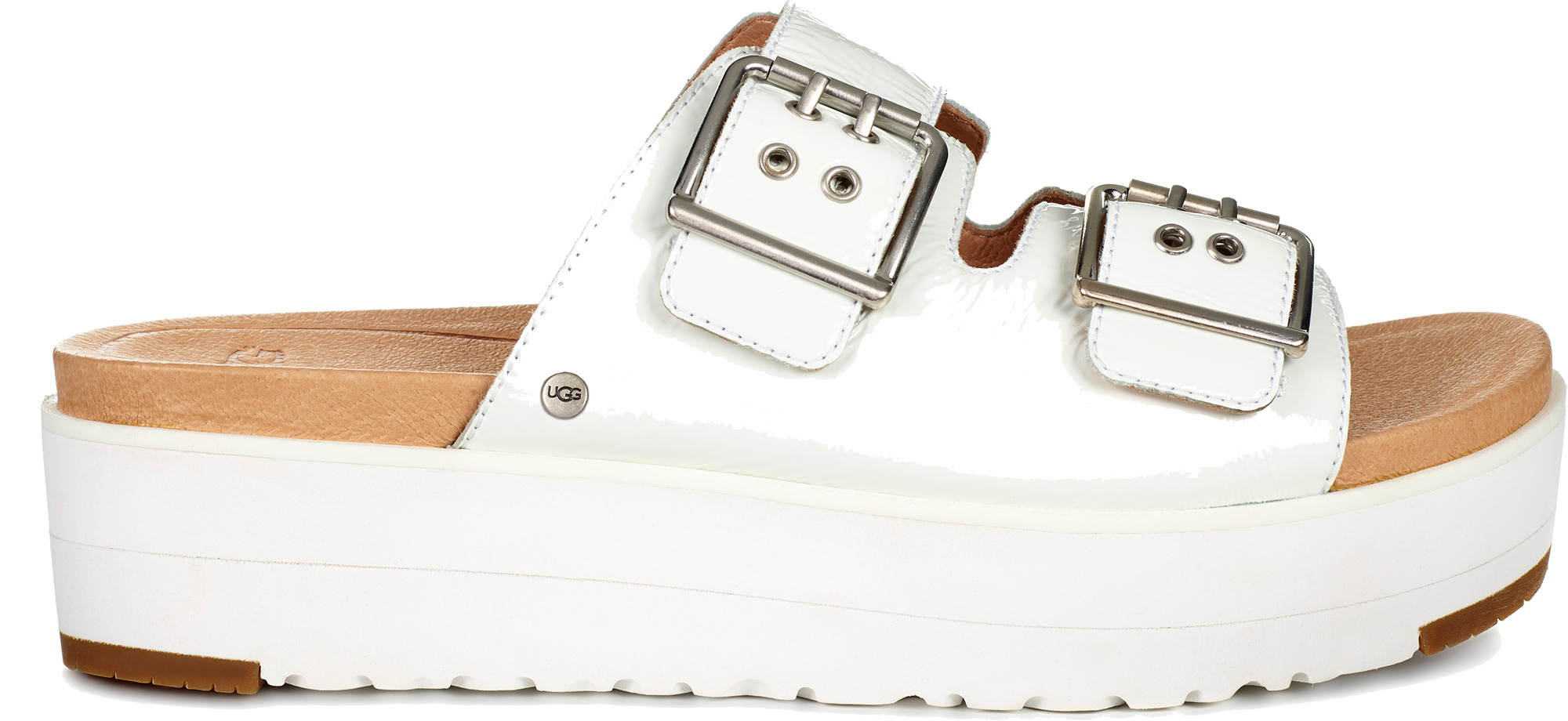 e21fe7f611a UGG Women s Cammie Slide Sandals Buckle Fastened Patent Leather Straps Uk5  White. About this product. Picture 1 of 5  Picture 2 of 5 ...