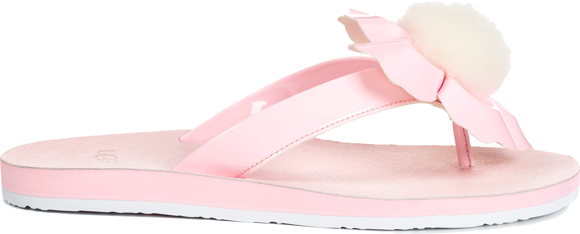315cf2478114 UGG Women s Poppy Flip Flops Patent Flower and Fluffy Pom Uk4 Seashell Pink.  About this product. Picture 1 of 5  Picture 2 of 5 ...